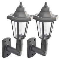 2 X LED Solar Power Wall Lantern Lamp Sun Lights Black Outdoor Mount Garden